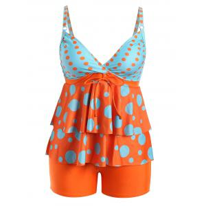 Plus Size Flounce Polka Dot Tankini Set - Orange - 5xl