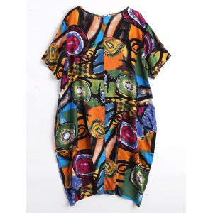 Funny Painting Plus Size Baggy Dress with Pockets -