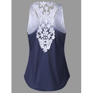 Lace Insert Ombre Printed Tank Top - PURPLISH BLUE 2XL