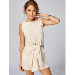 Knotted Sleeveless Top and Shorts Set - APRICOT XL