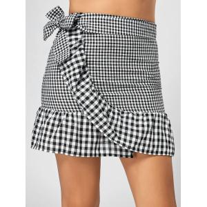 Fitted Ruffle Mini Plaid Skirt - Black + White - Xl