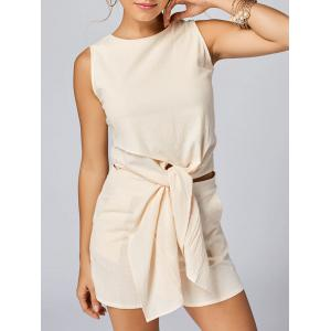 Knotted Sleeveless Top and Shorts Set - Apricot - M