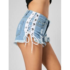 Distressed Lace Up Demin Shorts
