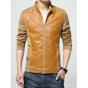PU Leather Panel Stand Collar Zip Up Jacket