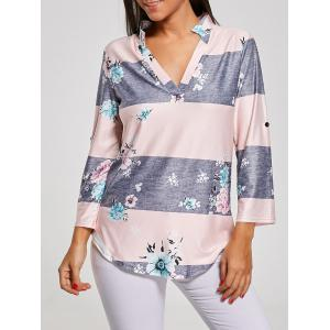 V Neck Floral Striped Print Tunic T-Shirt