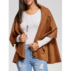 Open Front Faux Suede Cape Jacket - Khaki - 2xl