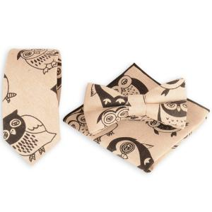 Cartoon Owl Printed Necktie Handkerchief Bowtie