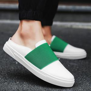 Faux Leather Elastic Band Casual Shoes - Green - 40