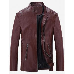 Zip Up Slim Fit Stand Collar PU Leather Jacket - Wine Red - Xl