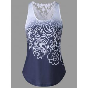 Lace Insert Ombre Printed Tank Top - Purplish Blue - Xl