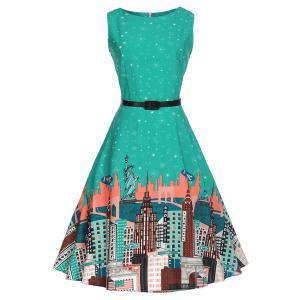 Printed Sleeveless Knee Length Vintage Dress