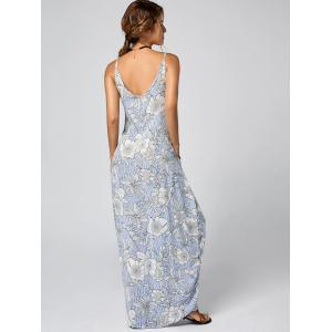 Spaghetti Strap Long Floral Dress for Summer - LIGHT BLUE S
