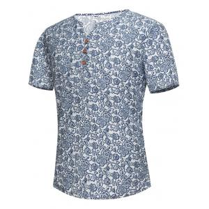 Notch Neck Floral Print Tee - Floral - 5xl
