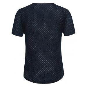 Polka Dot Notch Neck Tee - PURPLISH BLUE L