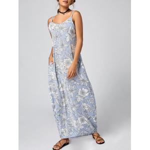 Striped Floral Maxi Slip Dress for Summer - Light Blue - Xl