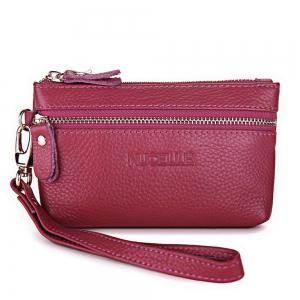 Zippers Faux Leather Wristlet