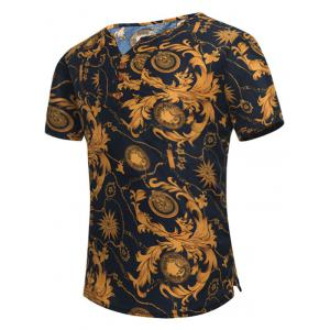Retro Leaves Printed Notch Neck Tee