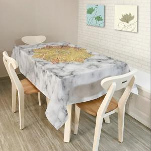 Mandala Marble Print Home Decor Table Cloth - White - W60 Inch * L84 Inch