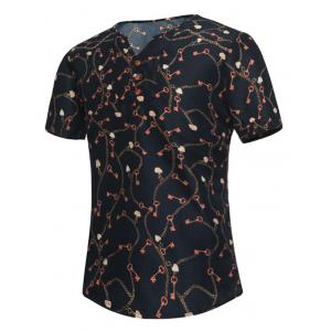 Button Embellished Notch Neck Key Print Tee