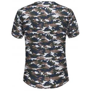Button Embellished Notch Neck Camo Tee - Brun 4XL