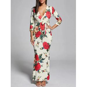 Plunge Floral Fitted Maxi Dress - Off-white - S