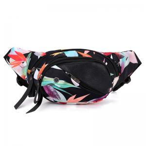 Nylon Floral Printed Waist Bag - Black White - 40