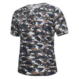 Button Embellished Notch Neck Camo Tee - Brown - L