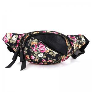 Nylon Floral Printed Waist Bag - Black And Rose Red