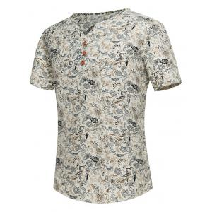 Notch Neck Tiny Floral Print Tee - Off-white - 2xl