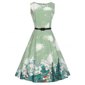 Sleeveless Printed A Line Vintage Dress