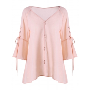 Buttoned V Neck Lace Up Blouse - Pink - 2xl