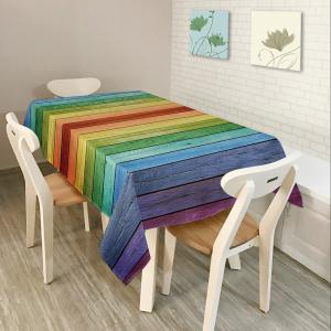 Colorful Wood Grain Print Home Decor Table Cloth - Colorful - W60 Inch * L84 Inch