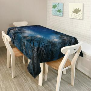 Starry Night Tree Print Fabric Dining Table Cloth - Deep Blue - W60 Inch * L84 Inch