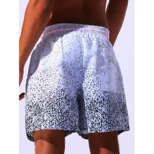 Splatter Paint Print Drawstring Applique Board Shorts - WHITE 2XL