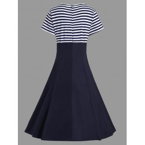 Striped Midi Plus Size Vintage Skater Dress - PURPLISH BLUE 4XL