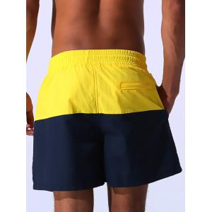 Color Block Panel Drawstring Embroidered Board Shorts - YELLOW XL