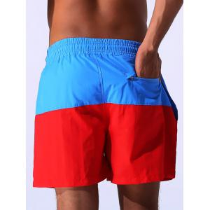 Color Block Panel Drawstring Embroidered Board Shorts - BLUE XL