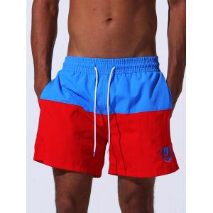 Color Block Panel Drawstring Embroidered Board Shorts - Blue - L