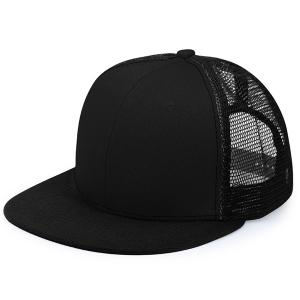 Mesh Splicing Flat Brim Baseball Cap - Black - One Size