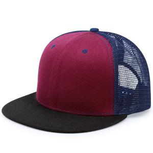 Mesh Splicing Flat Brim Baseball Cap - Blue