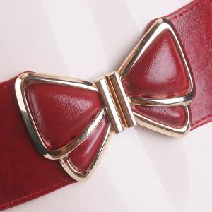 Butterfly Buckle Faux Leather Splicing Belt - RED