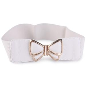 Butterfly Buckle Faux Leather Splicing Belt - White - M
