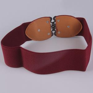 Elastic Retro Hollow Out Metallic Buckle Belt - WINE RED