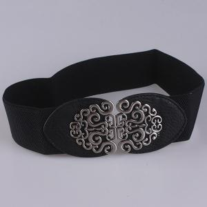 Elastic Retro Hollow Out Metallic Buckle Belt - BLACK