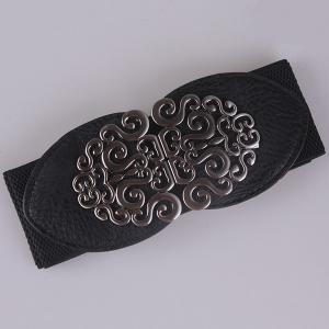 Elastic Retro Hollow Out Metallic Buckle Belt -