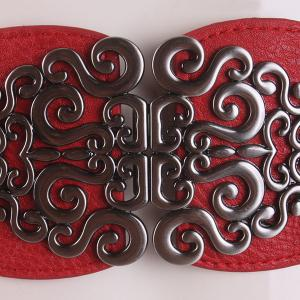 Elastic Retro Hollow Out Metallic Buckle Belt - RED