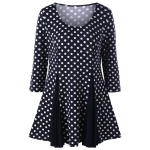 Polka Dot Plus Size Top - Black White - 5xl