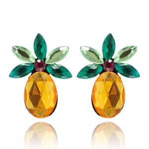 Faux Crystal Pineapple Fruit Earrings