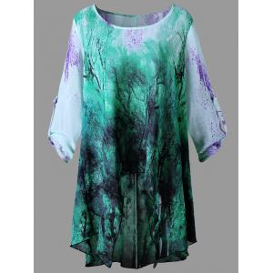 Plus Size Graphic High Low Blouse