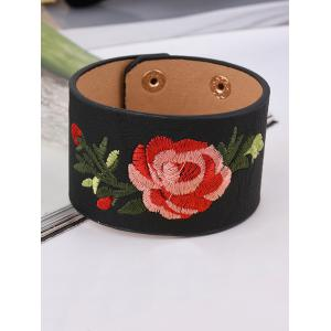 Faux Leather Chinese Flower Embroidery Bracelet - Black